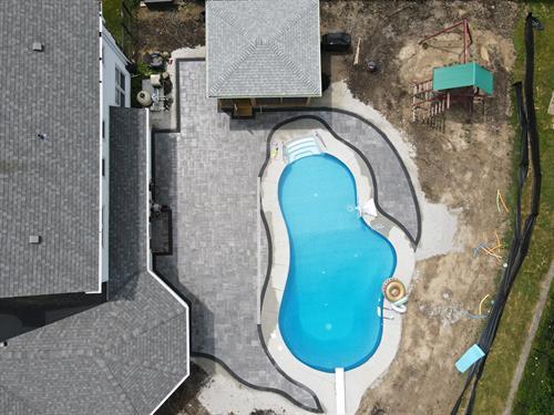 paver around pool