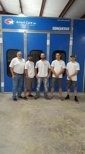 Our crew by paint booth