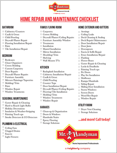 Home Repair & Maintenance Checklist
