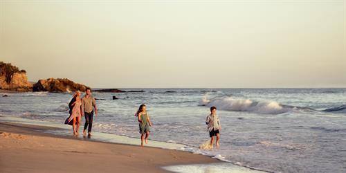 Family beach fun at Surf and Sand Resort