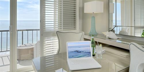 Our guestroom overlooking the ocean offers elevated amenities for a luxurious experience