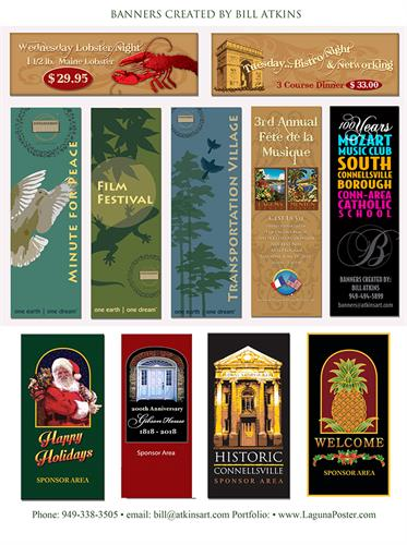 A selection of vinyl street banners