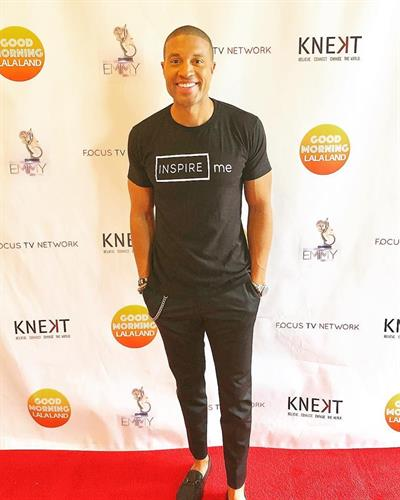 "Celebrity Love Coach, Rob Mack from ""Famously Single"" on E! and ""Good Morning La LaLand wearing our ""Inspire Me"" shirt at a red carpet event in Los Angeles"