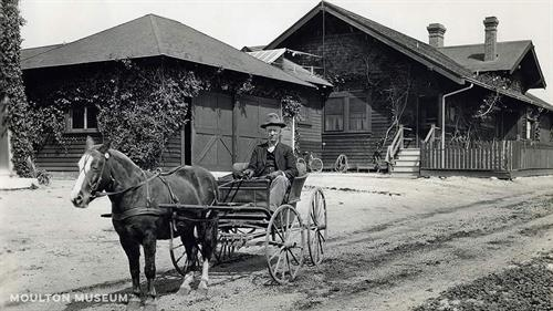 Lewis and Lady his horse at the homestead in Laguna Hills, circa 1930s