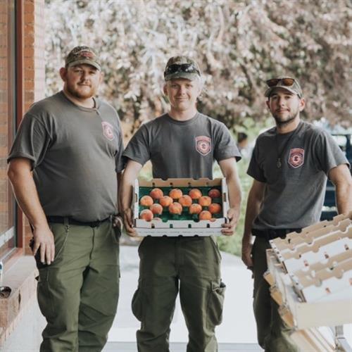 Firefighters gifted peaches. Skip's is well known for our Palisade Peaches