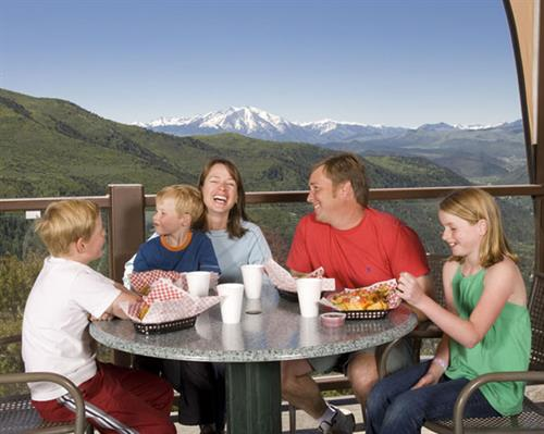 Family dining with incredible views