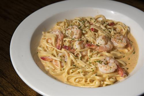 """Linguini with Texas Gulf shrimp in """"No Name"""" sauce"""