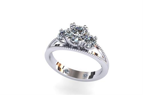 14K white gold 3 stone diamond ring *I Love You Then, I Love You Now, & I'll Love You Forever