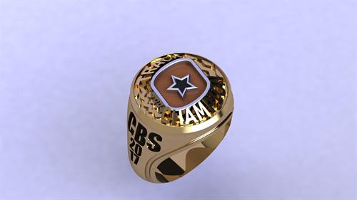 14K yellow gold diamond cottonbowl speedway champion ring