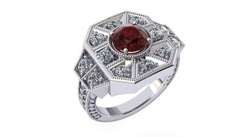 14K white gold diamond & ruby filgree ring