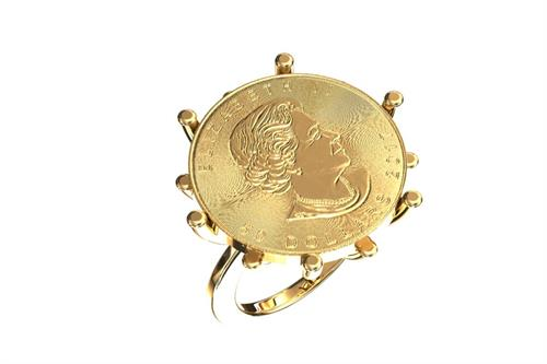 14K yellow gold coin ring
