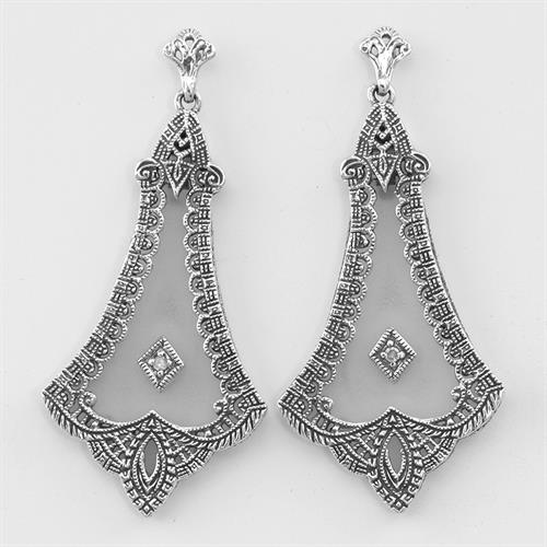Victorian style sterling silver earrings