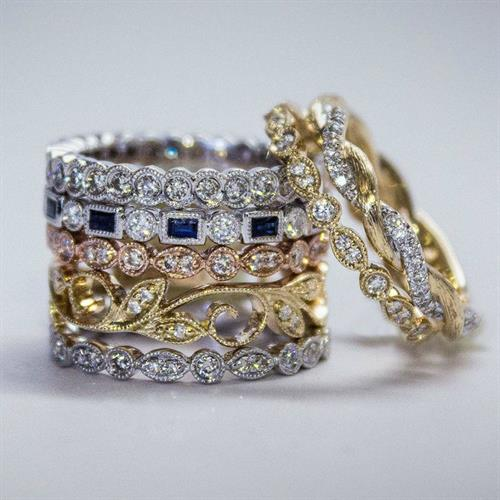 14K gold diamond & geniune gemstone stackable rings