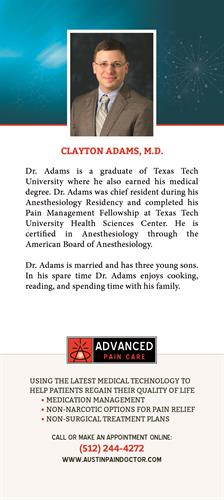 Clayton Adams, MD bio card