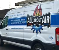 All About Air newly branded and wrapped transit van