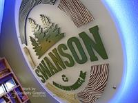 Backlit acrylic lobby sign for Swanson Bark & Wood Products
