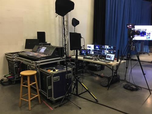 Our virtual event production space, ready to host your next virtual or hybrid streaming event!