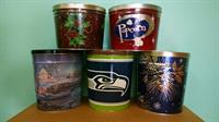 We re-fill any of our popcorn tins with our Homade Popcorn, right here in Vancouver, WA.