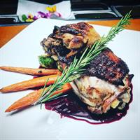 Smoked Mary's Chicken Thighs/Fennel Confit/Root Vegetable/Huckleberry Pan Sauce