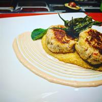 Dungeness Crab Cake Entree/Smoked Tomato Aioli/Fried Shishitos/Pimento Grits