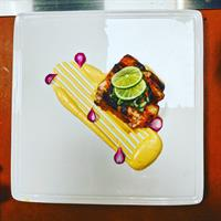 "Nightly Special-""Kim Chee"" Rubbed Halibut/Emulsified Mango/Korean Sweet Pickled Roots"