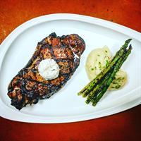 One Pound NY Strip/Whipped Potato/Asparagus