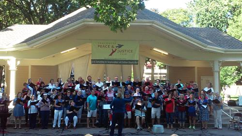 Singing at the Peace & Justice Fair