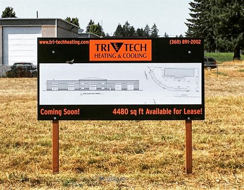 Temporary signs or banners work well to announce construction or a special event
