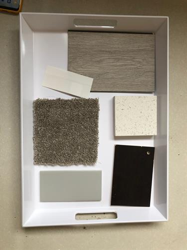 Sample tray of colors and finishes.