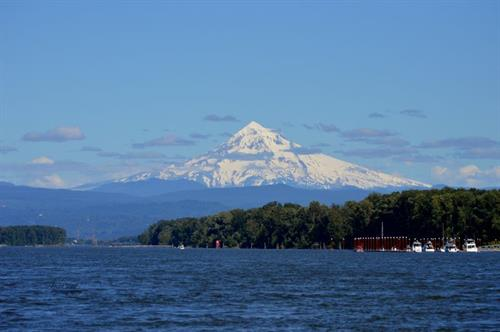 The mountain from a boat on the Columbia River.