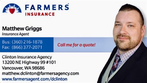 Business Card: Matthew Griggs Insurance Agent