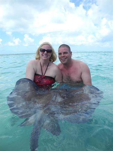 Faith & I at Stingray city in Grand Cayman!