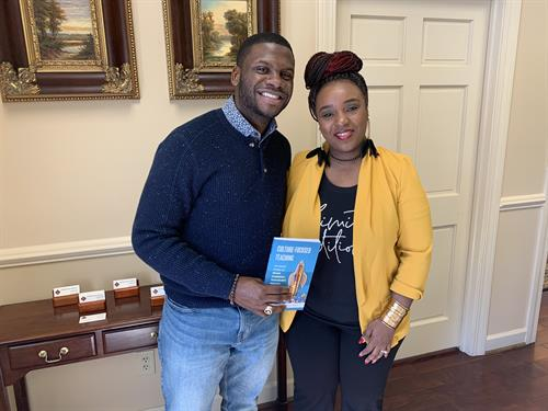 Rep. Kambrell Garvin (House of Representatives) gets a copy of my book as we discuss educational policy.  Rep Garvin is my District 77 House member.