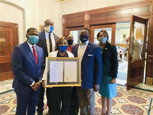 State House Reps & County Councilwoman Barron (District 7) stand with me to receive the House Resolution presentation.  I reside in District 7.