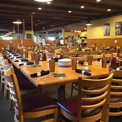 We can accommodate large groups in our spacious dining room and two private dining rooms.