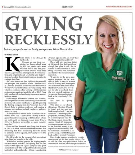 Our owner on the cover of The Hendricks County Business Leader