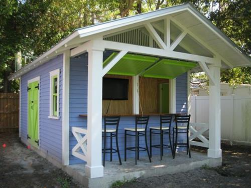 "Custom ""Snack Shack"" shed with attached bar"