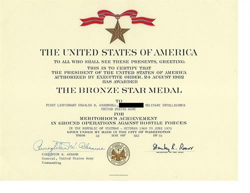 Bronze Star earned by Charles D. Greenwell