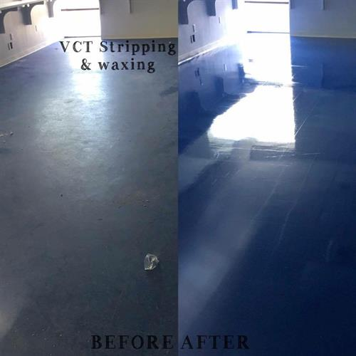 VCT stripped and waxed