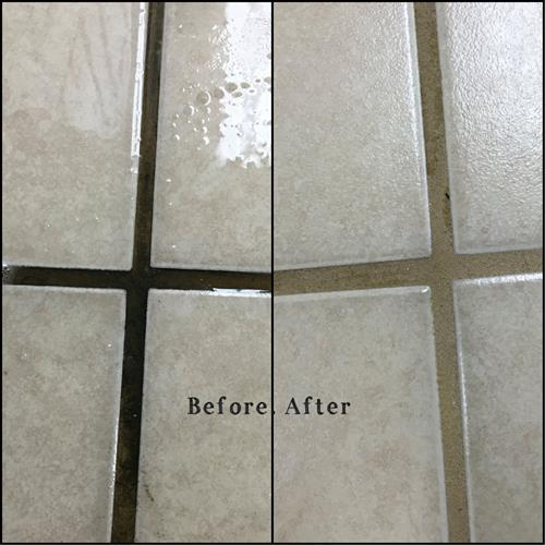 Tile and grout cleaning before (left) after (right)