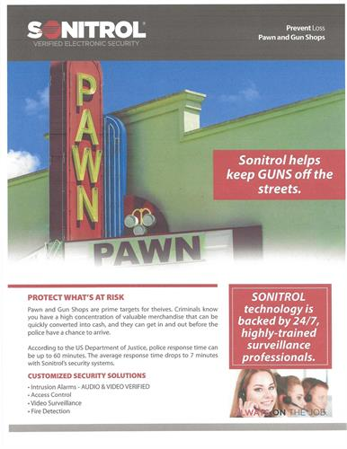 Sonitrol Verified Electronic Security-Pawn Shops