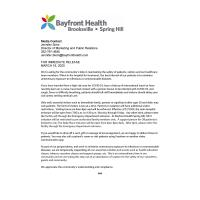 News Release: 3/17/2020: Bayfront Health Visitor Restrictions and event/activity cancellations