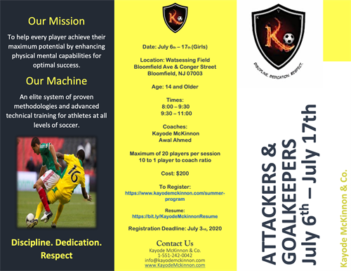 Attackers & Goalkeepers Summer Clinic Flyer 1.1