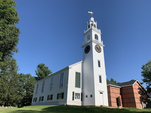 Sept. 2019 —Restored Tower & Steeple; adjacent Accessibility Connector with elevator awaits completion