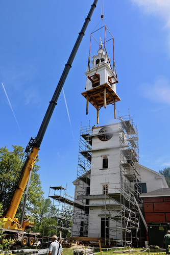 Raising the restored Steeple; work done by Preservation Timber Framing.