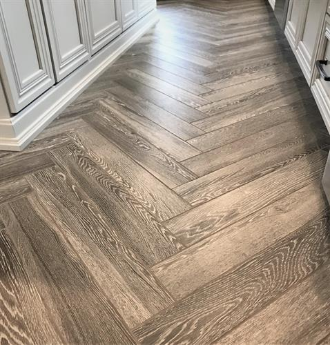 Hampstead NH Custom Kitchen - Herringbone Wood-Look Tile Floor