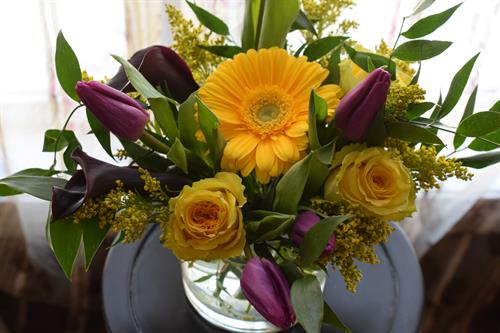 Premium yellow roses, Gerbera daisies and tulips