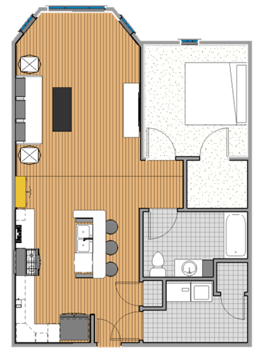 One bedroom, one bath starting at $1,800