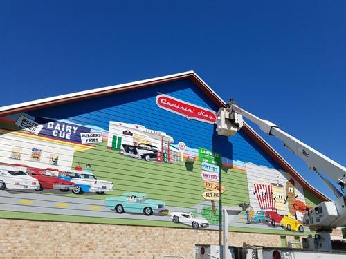 """""""Cruisin' Key"""" mural - 609 S. Key, Lampasas, TX"""