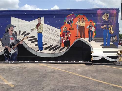 """Small Town...Big Sound"" mural - 203 S. Key Avenue, Lampasas, TX"